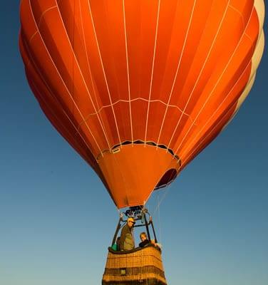 Hot air balloon ride above a Utah valley