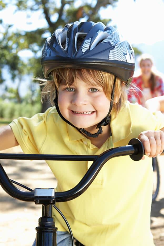 Kid having a fun bike adventure