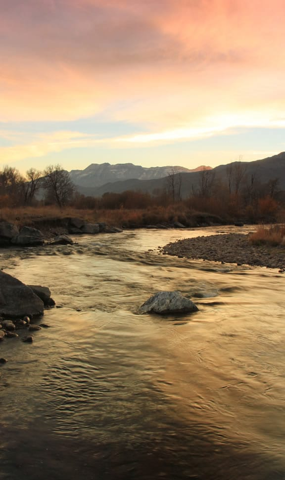 Provo River at sunset