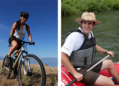 Peddle Paddle Combo adventure showing bicycling in the Utah mountains and paddling through Utah rivers